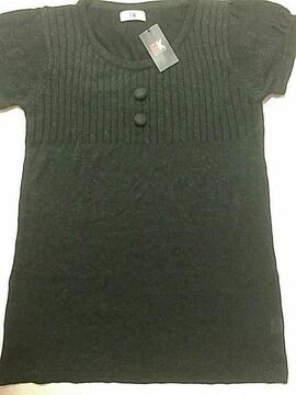 新品☆3Lサイズ☆黒ゴールドラメ半袖チュニック☆薄手ニット
