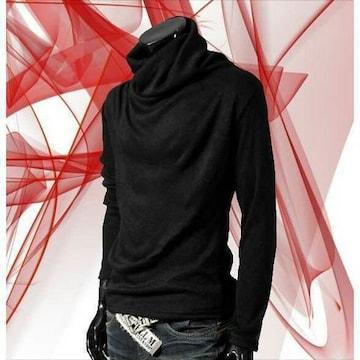 ★即日発送★ タートルネック Tシャツ 黒L 他色サイズ有