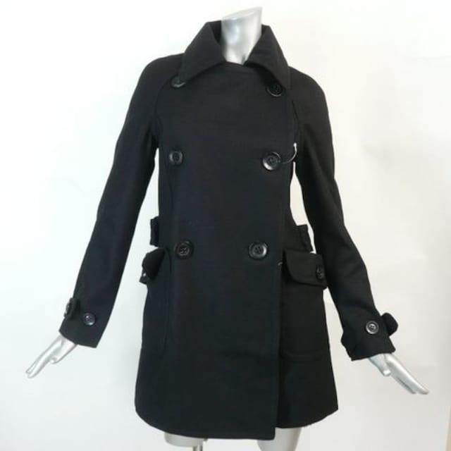 【新品★9号】黒のピーコート★ウール混(849 < 女性ファッションの