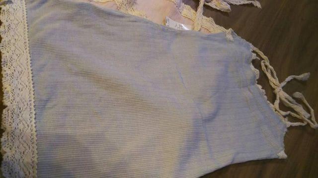 ミッシュマッシュ★3465円水色リヴニットホルターネック白キャミ < 女性ファッションの