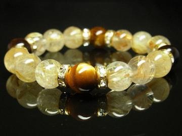 タイガーアイ×タイチンルチルブレスレット 10ミリ数珠パワーストーン 金運UP