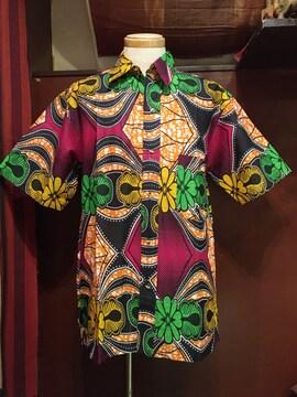 アフリカンバティック柄シャツ★ゆったり★アフリカン★半袖★