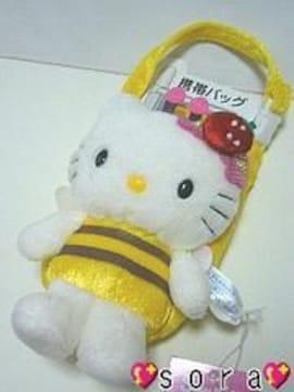 【キティ】可愛いビーズ付♪ハチ携帯ポーチ