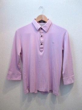 ☆バーバリーブラックレーベル 7分袖ポロシャツ/メンズ/2☆ピンク