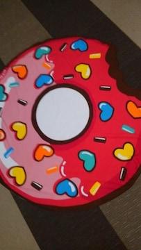 マイクロファイバー!変型!大判バスタオル!鮮やかなピンクドーナツ柄!形!新品!
