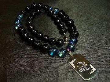 即決価格!!梵字ドッグタグ×オニキス×ブルーオーラ数珠ネックレス