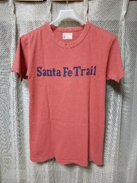 ジョーマッコイ リアルマッコイズ プリント半袖Tシャツ 36 Sサイズ ユーズド加工 ピンク 赤
