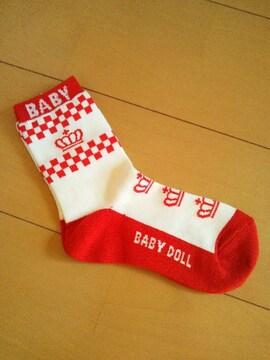 新品靴下/赤19〜21�pベビドBABYDOLLベビードール