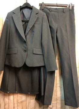 新品☆9号スーツ3点setスカート・パンツお仕事にグレー股77☆n935