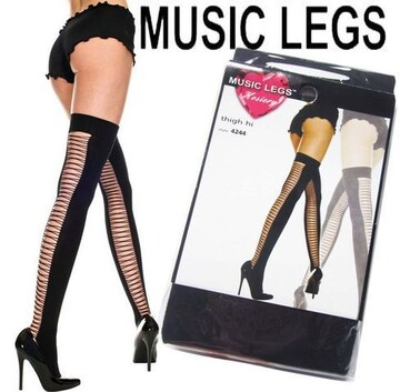 63a)MUSICLEGSバッククリスクロスサイハイタイツ黒ニーハイB系セレブダンスストッキング