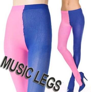 AA5-)MUSICLEGS2トーン配色オペークタイツピンク青ブルーコスプレ衣装ダンスダンサー