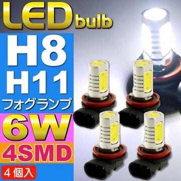 6W LEDフォグランプH8/H11ホワイト4個 超明るいSMD as90-4