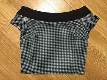 新品タグ付 rienda リエンダ オフショルダー ギンガムチェック柄 Tシャツ 半袖 トップス
