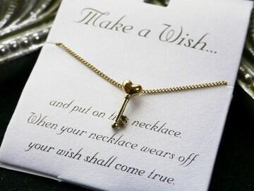 新品 make a wish ハートの鍵ネックレス 金色
