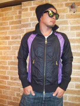 【TOMMY】上質ナイロンジャケット筆記体刺繍入り黒×紫M♪トミー
