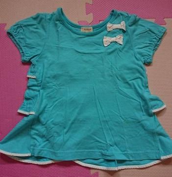 HUSHUSH☆背中フリルのTシャツ☆size110☆水色