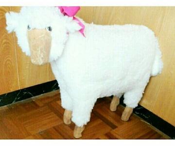 リアル 木製 木彫り 羊 置物 ぬいぐるみ 干支 羊毛 ハンドメイド