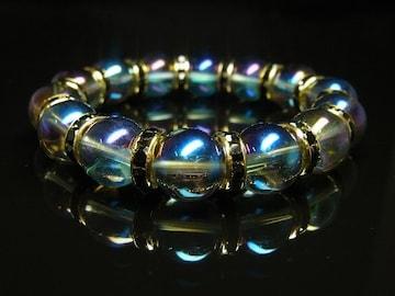 超越エネルギー ブルーオーラブレスレット 12ミリ数珠パワーストーン 天然石