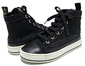 美品正規シャネル靴スニーカーハイカットマトラッセフェイクパ