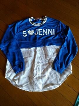 JN-シャツタイプロゴトレーナー160ブルー