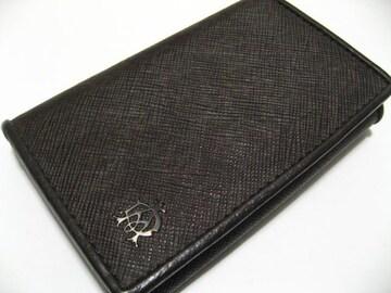 世界最高紳士ブランドdunhill.ダンヒルの全面透かしロゴ焦茶革6連キーケース