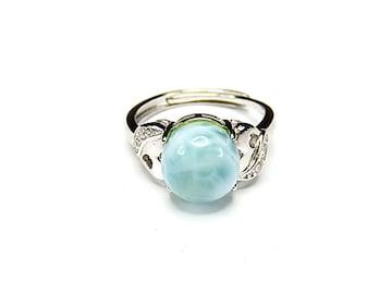 ラリマー指輪リングAAAA天然石一点物13号石街U0279