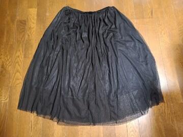 送料無料/大きいサイズ5Lウエスト総ゴムチュール付き可愛いブラックヒラヒラスカート