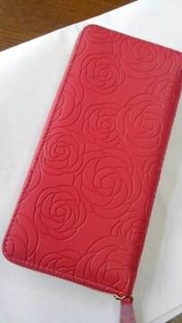 ローズ模様ラウンドタイプ長財布「赤」新品・未使用品