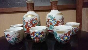 九谷焼…金彩花色絵…7点セット…窯印