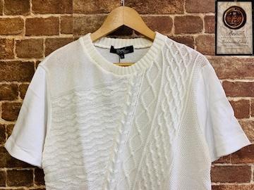 表記L/新品!Beno サマーニットTシャツ 白系 サーフ グランジ サファリ 西海岸スタイル