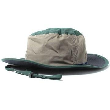 ハット 帽子 撥水 あご紐 グリーンxネイビー