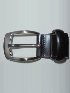 ベルトバックルピン式シングルピンベルト交換用無地黒×銀中古品