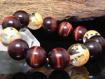 金四神獣水晶レッドタイガーアイ14ミリ数珠