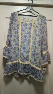新品タグ付きM水色シフォン花柄長袖ワンピースチュニック紫