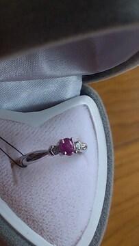 K18WG本物刻印あり、8号サイズ!新品近い刻印あるルビー石指輪
