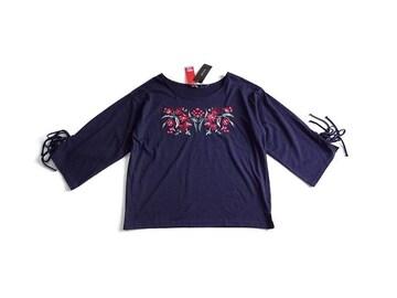 新品 BEGUM しまむら 刺繍 リボン Tシャツ カットソー 3L 15号