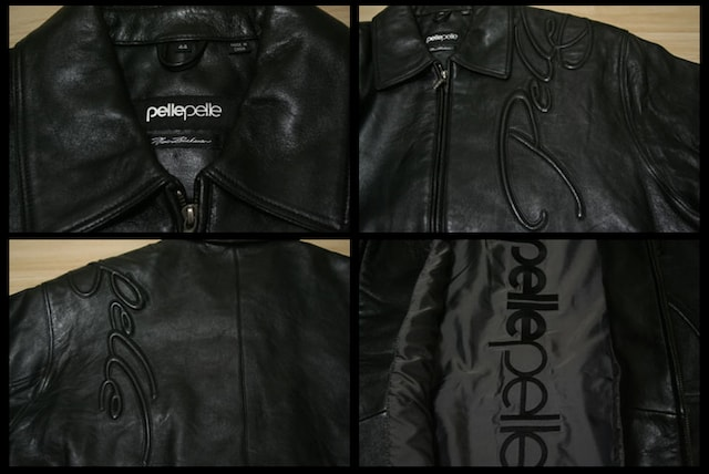 PELLE PELLE エンボス刺繍レザージャケット(BLACK) 【送料無料】 < ブランドの