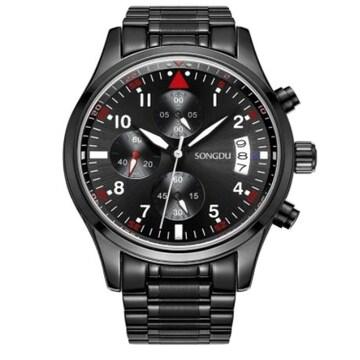 メンズ 腕時計 多針アナログ 日付表示レッド ブラック