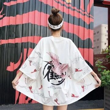 鶴 法被 着物 浴衣 フリーサイズ