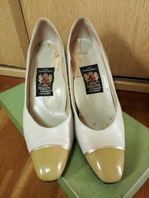 日本製 ヒール 24cm ミハマ ハイヒール パンプス ホワイト  < 女性ファッションの