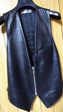 国内正規未 Dior Hommeディオールオム ライダースベスト レザー切替えジレ黒 38