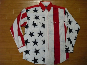 USA製 アメリカ国旗柄 総柄 シャツ USA-ML