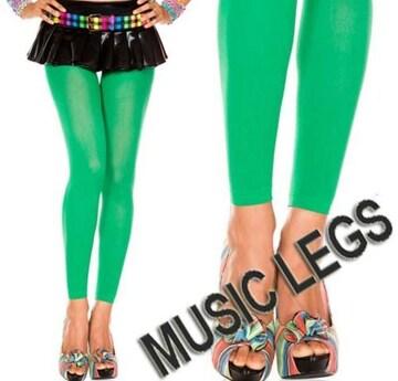 A191)MUSICLEGSレギンスオペークタイツ緑グリーンレゲエダンサーダンス衣装ストッキング