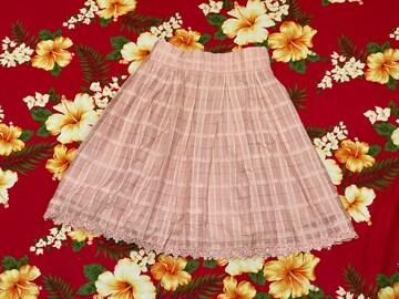 レストローズ☆モスピンク☆チェックスカート☆裾お花レース☆