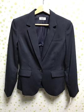 Mサイズ 麻混 テーラージャケット 紺色