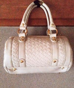 PJ ハンドバッグ 白 ホワイト バッグ 筒型 ミニボストンバッグ