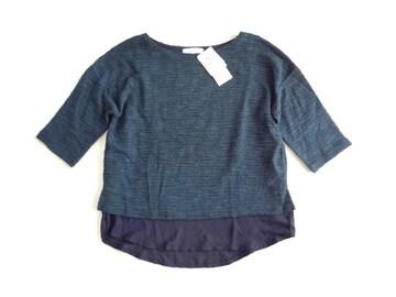 新品 グローブ grove ワールド 裾シフォン ニット セーター