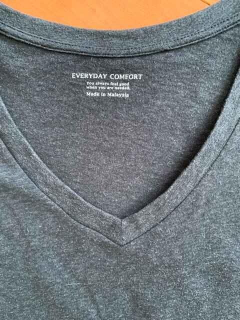 GU ジーユー Vネック半袖Tシャツ 濃紺グレー サイズL USED < ブランドの
