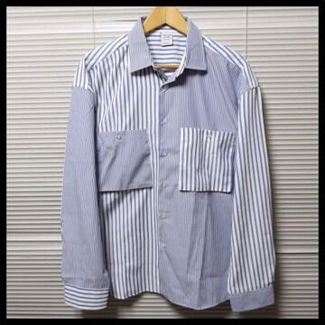 ストライプ柄クレイジー切替ビッグシャツ/BLUE/L