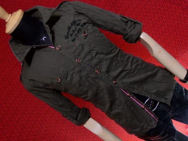 ライン使い刺繍ミリタリーシャツ/カーキ/L < 男性ファッションの